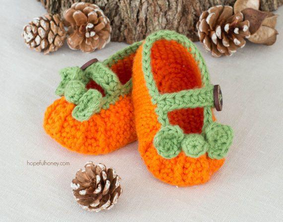 CROCHET PATTERN Pumpkin Spice Baby Booties | zapatitos bbs ...