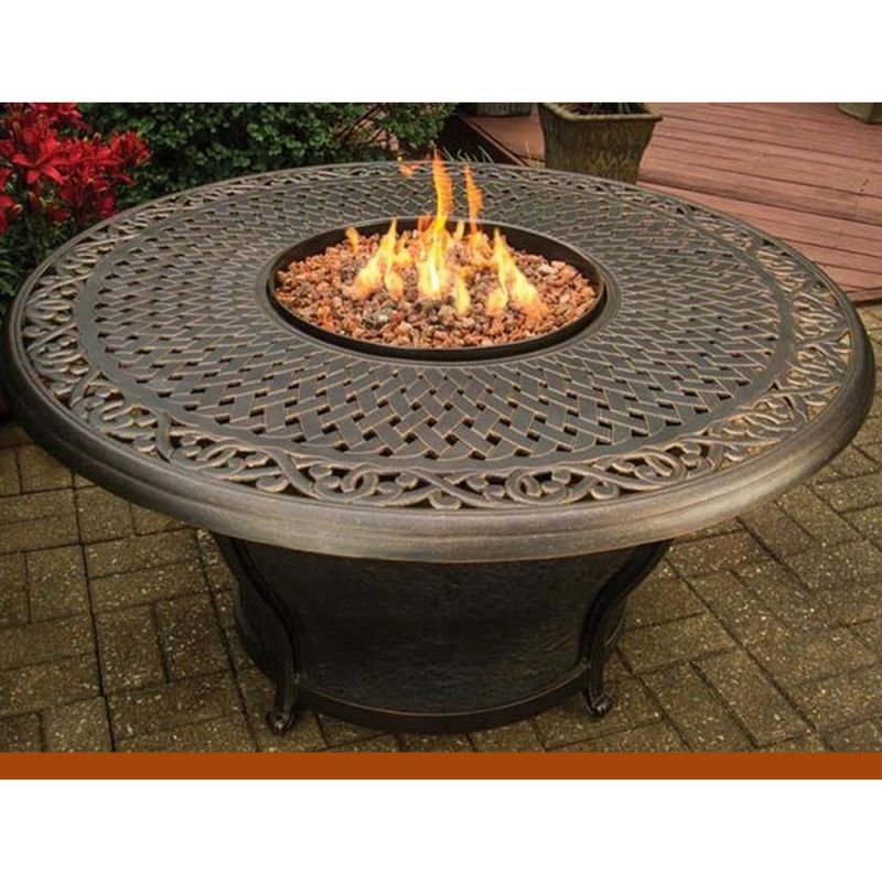 48 Inch Round Gas Fire Pit Cast Aluminum Propane Burner Fire Glass With Cover Ebay Outdoor Propane Fire Pit Fire Pit Table Gas Firepit