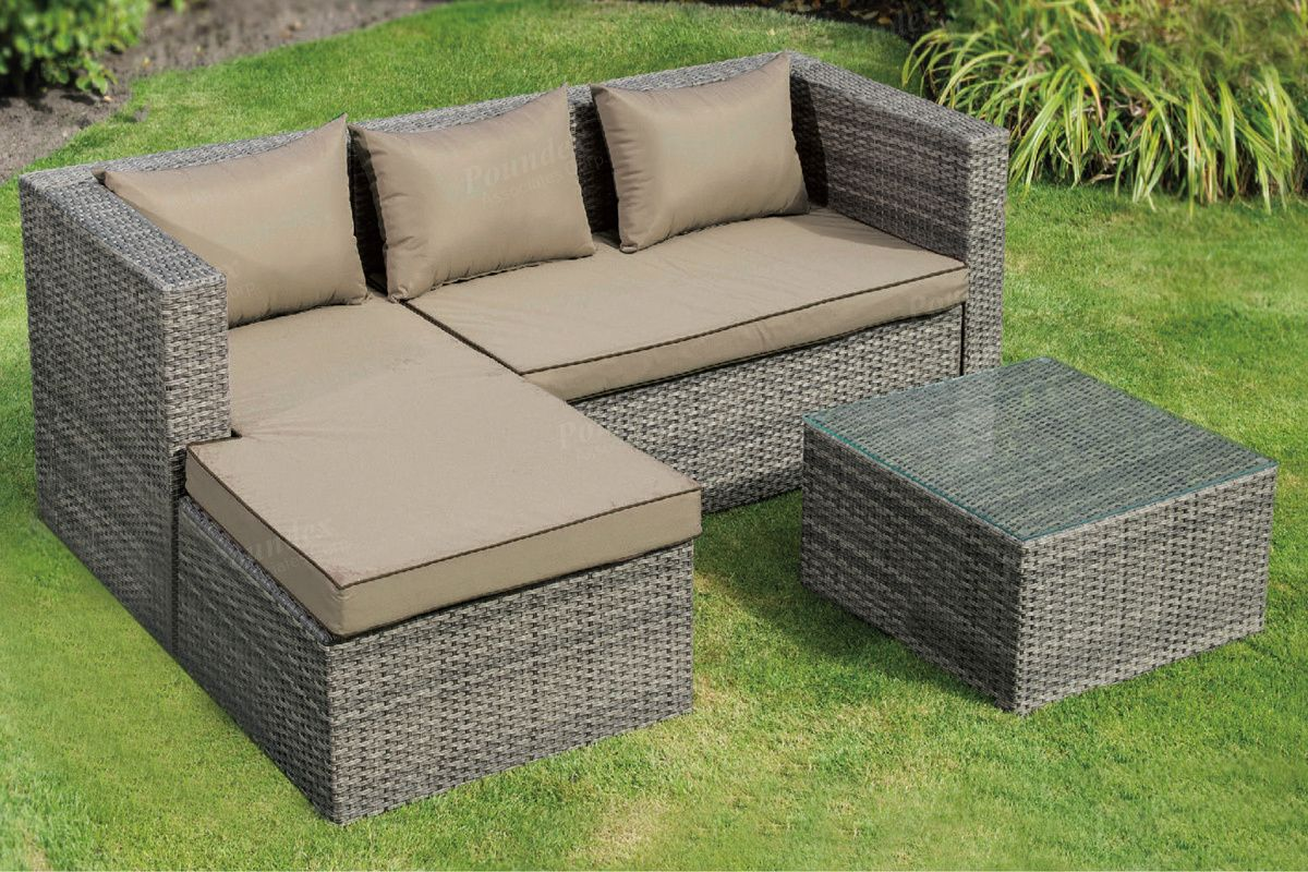 Poundex P50286 3 Pc Liz Kona Steel Frame And Pe Resin Wicker Mesh Patio Sectional Set Patio Sectional Resin Wicker Outdoor Furniture Sets