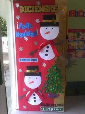 Manualidades navide as puertas 3 decoraci n de clase for Salon xmas decorations