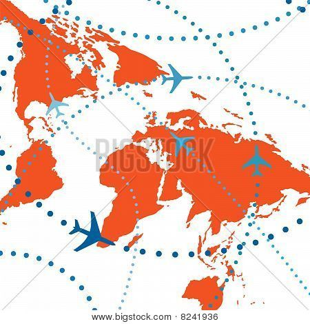 World Map Airplane Flight Travel Plans Connections Idea For Wall