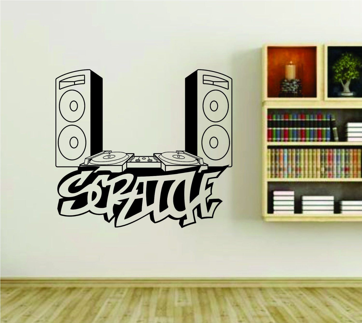 Wall graffiti vinyl lettering - Dj Speakers And Turntable Scratch Graffiti Writing Vinyl Wall Decal Sticker