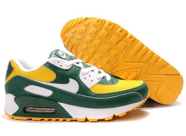 pretty nice e4bdf 866be Nike Air Max 90 Mens Victory Green White Yellow