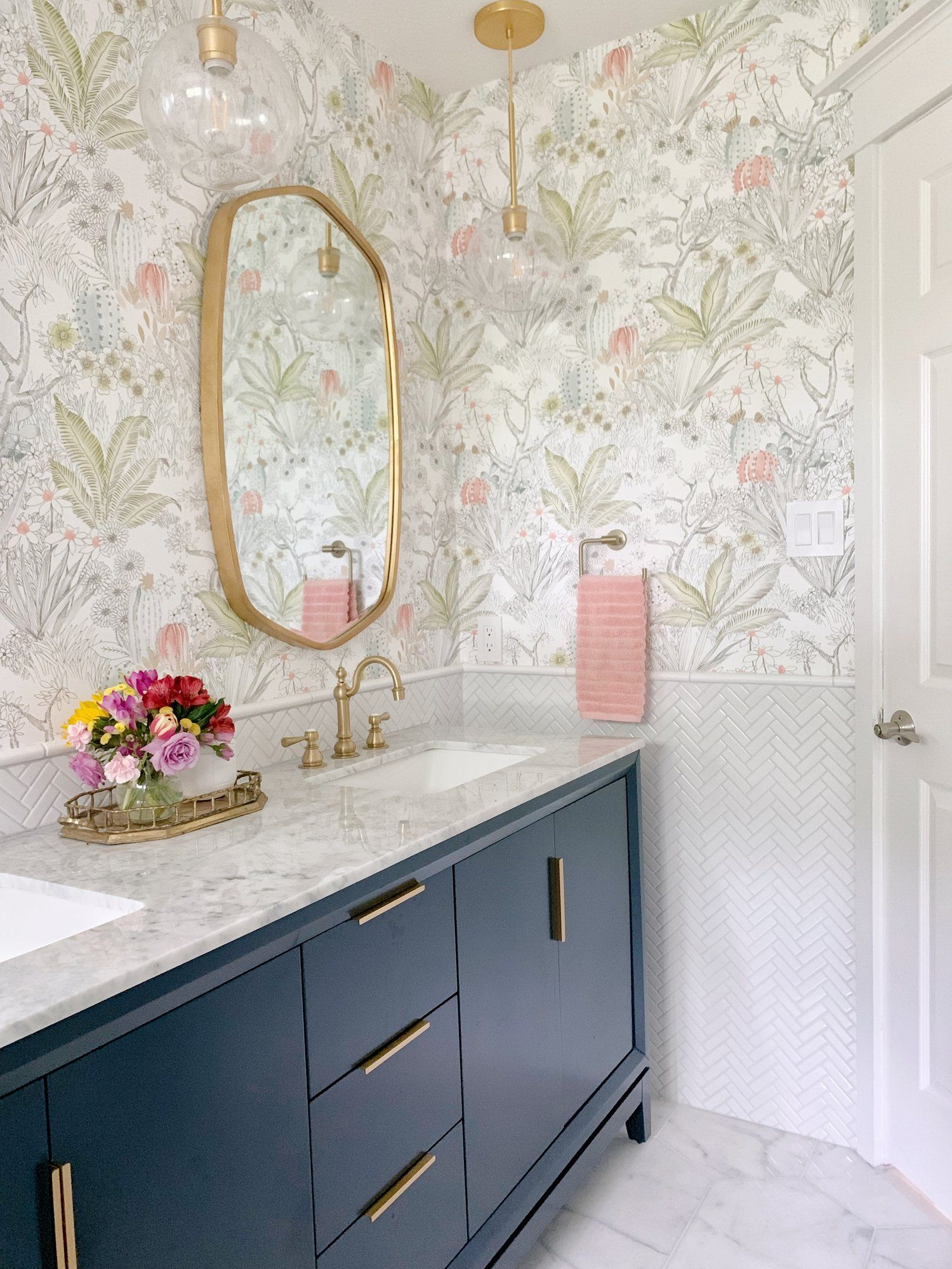 Girl S Bathroom Reveal One Room Challenge Spring 2019 Kristin Laing Design Girls Bathroom Bathroom Inspiration Bathroom Design