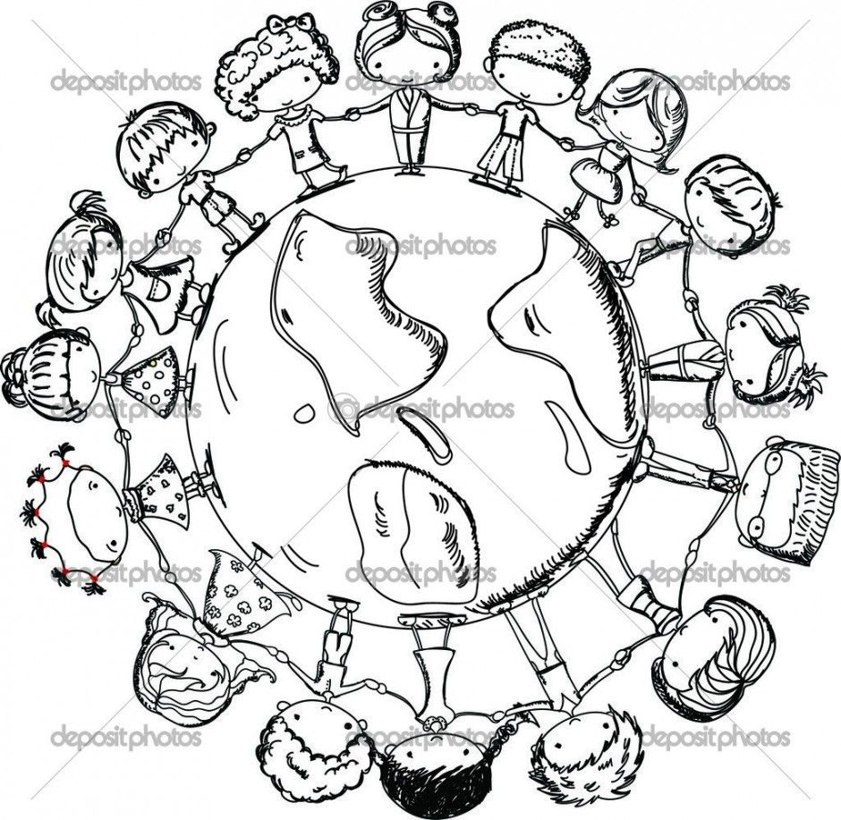 Children Holding Hands around World Coloring Page, Cute children ...