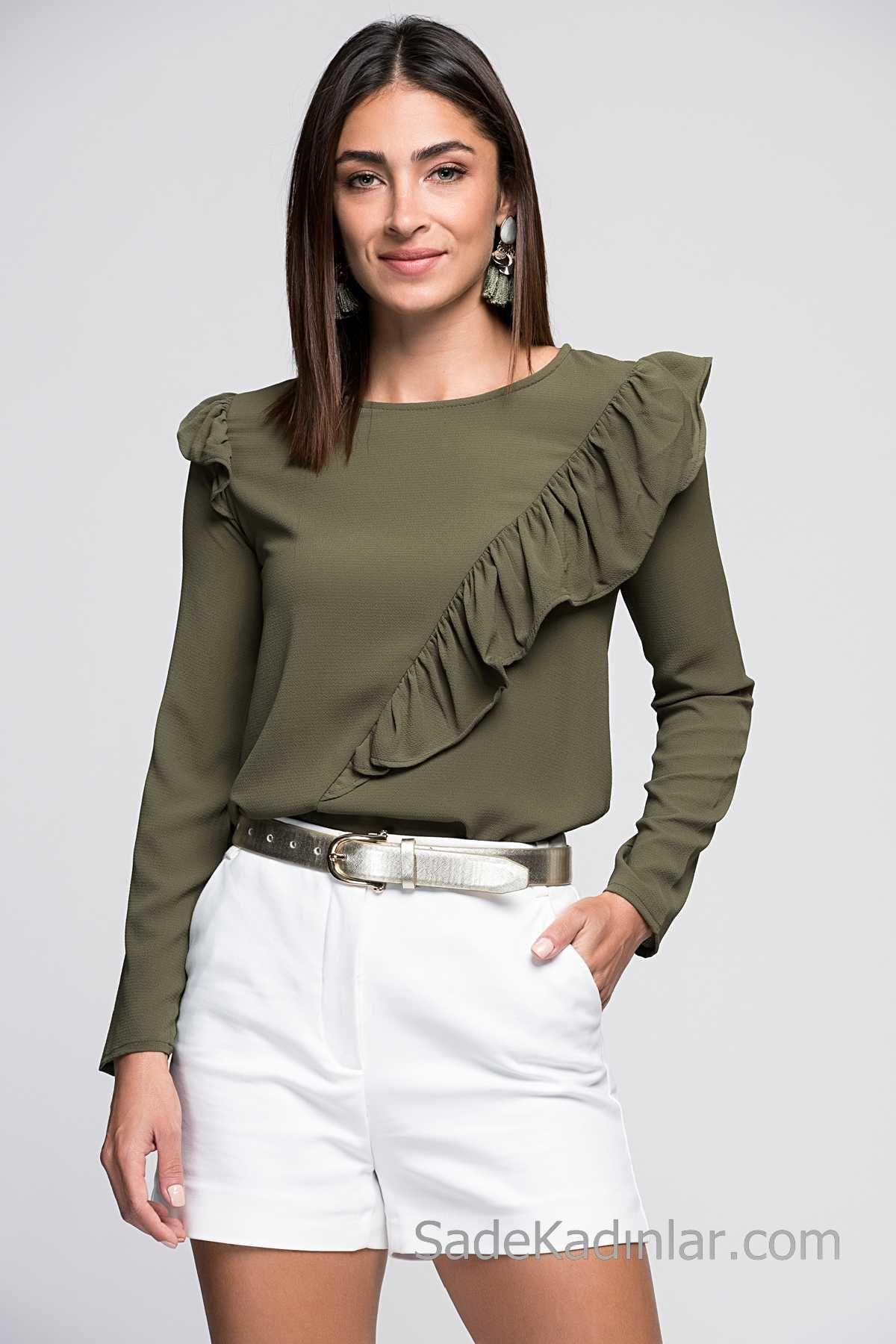 Şık Kombinler İçin 2020 Bluz Modelleri Yeşil Yuvarlak Yaka Yandan Fırfır Detaylı