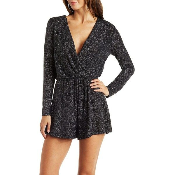 77500674b31c Charlotte Russe Black Combo Long Sleeve Glitter Wrap Romper by... ( 29) ❤  liked on Polyvore featuring jumpsuits