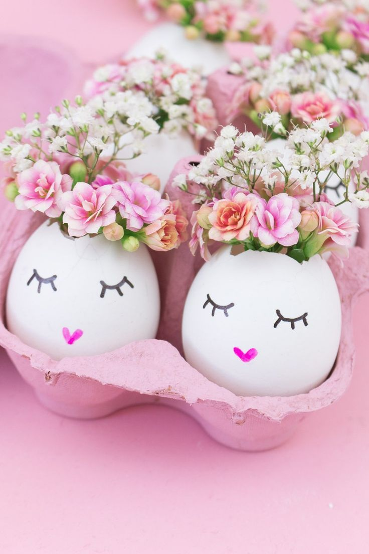DIY Osterdeko: Süße Vasen aus Eierschalen basteln