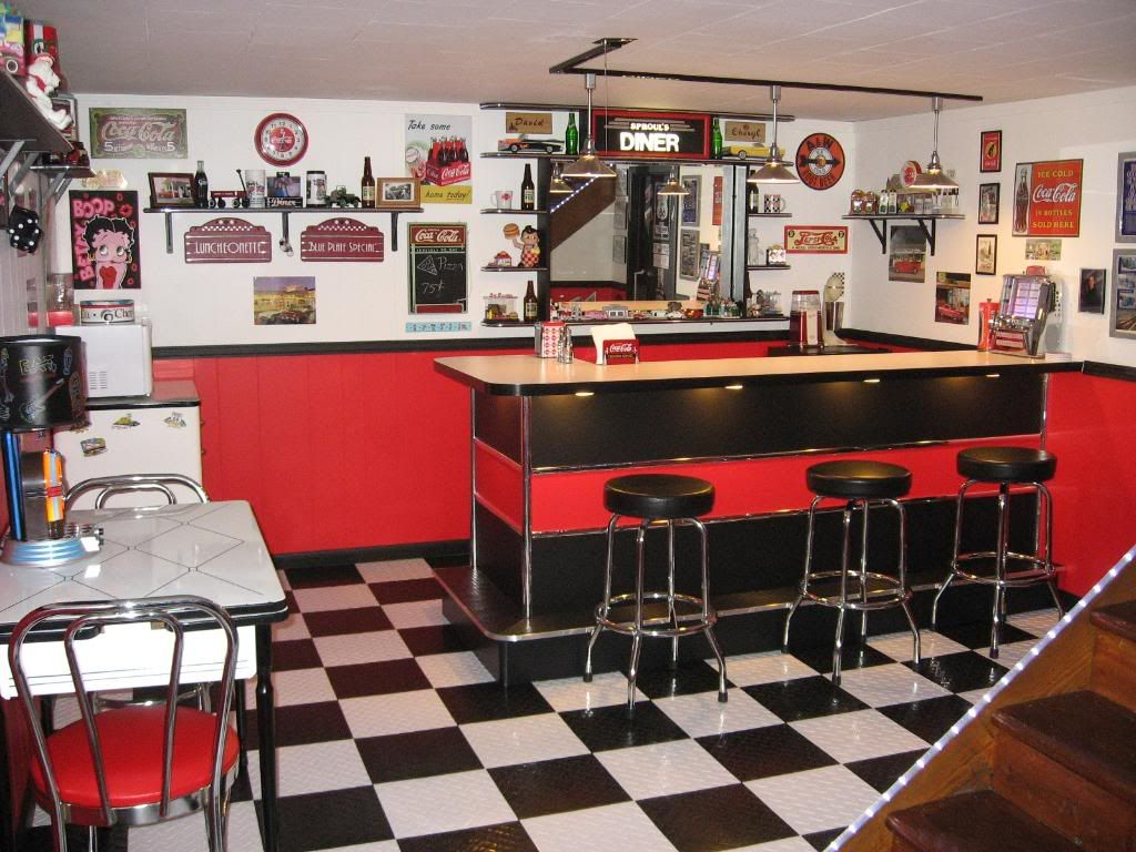 Retro Style Kitchen 50s Style Diner Ideas For Basement Google Search