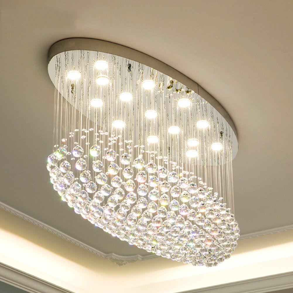 Yue Jia Comtemprary Modern Clear K9 Crystal Chandelier Oval Rain