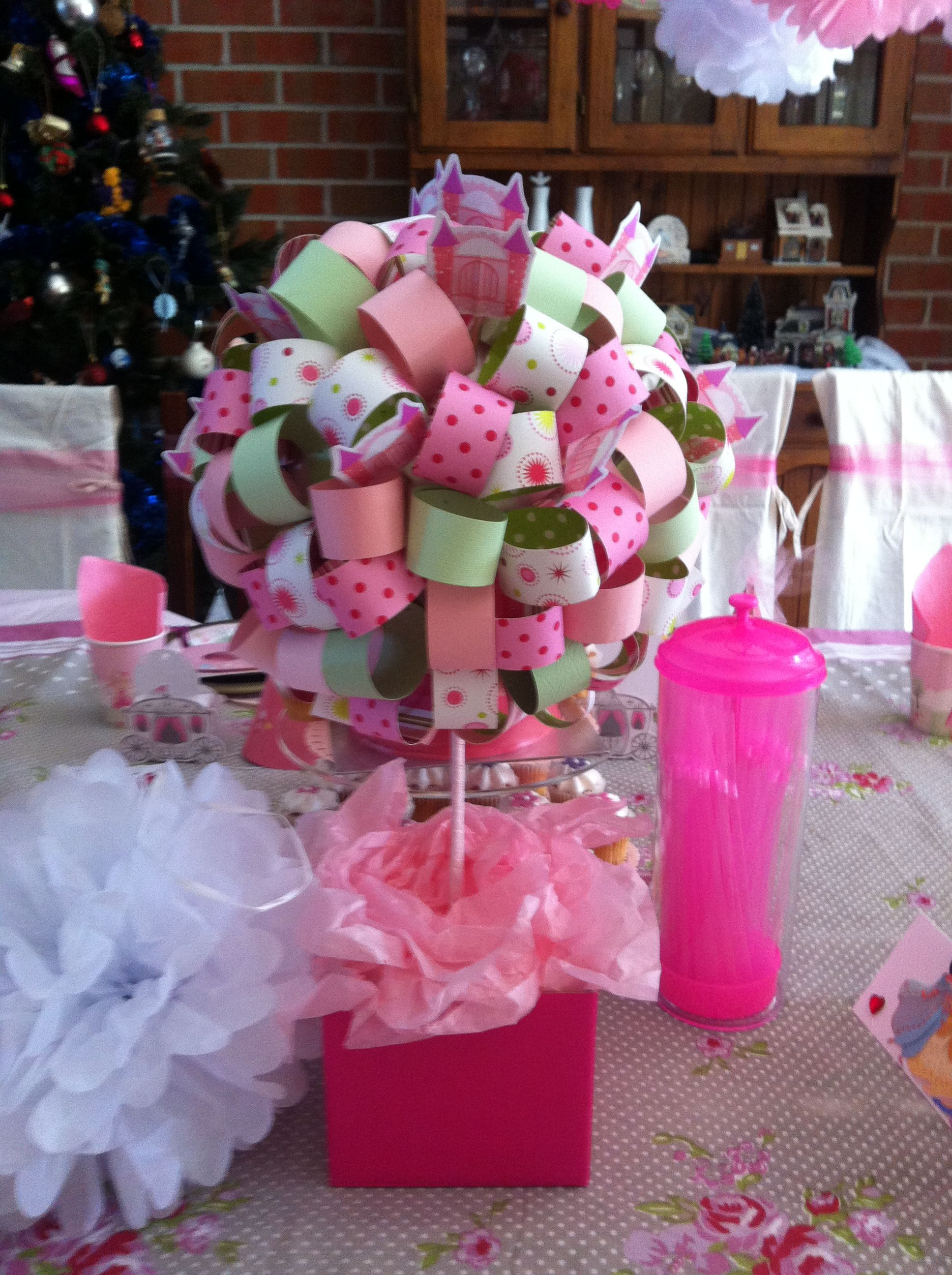 Princess Birthday Party table decoration made by me but