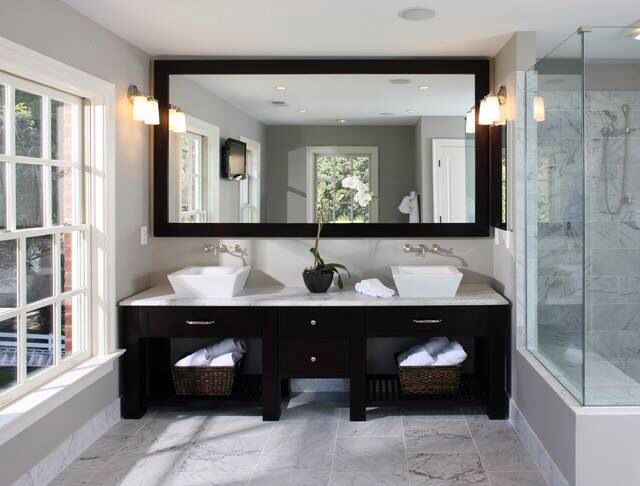 Lower The Mirror And Add A Chair Or Leave Mirror Alone And Add Custom Large Bathroom Vanity Mirrors Review