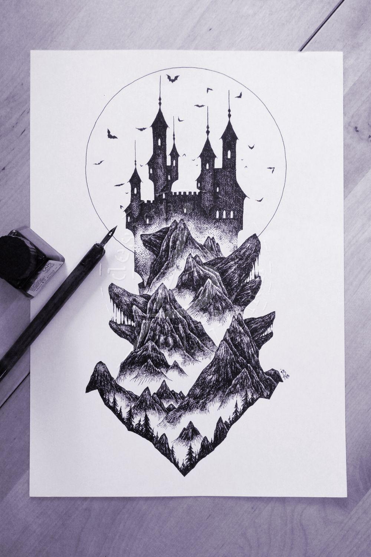 Vampire Castle Burg Tattoo Tuschezeichnungen Tintenzeichnung