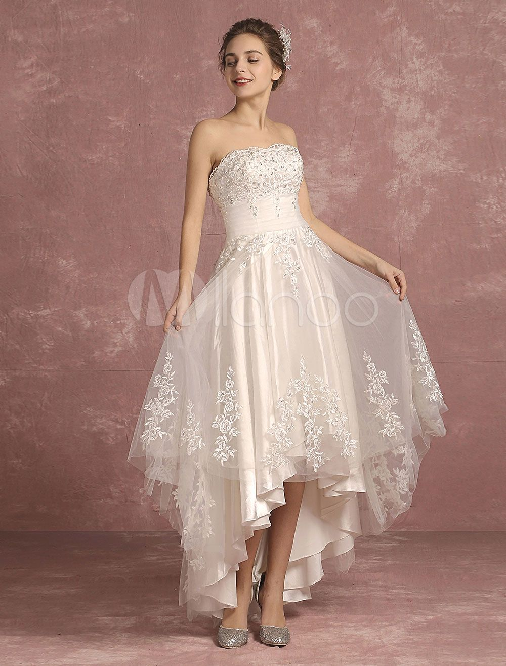 Ivory Wedding Dress Lace Beaded Bridal Gown Strapless
