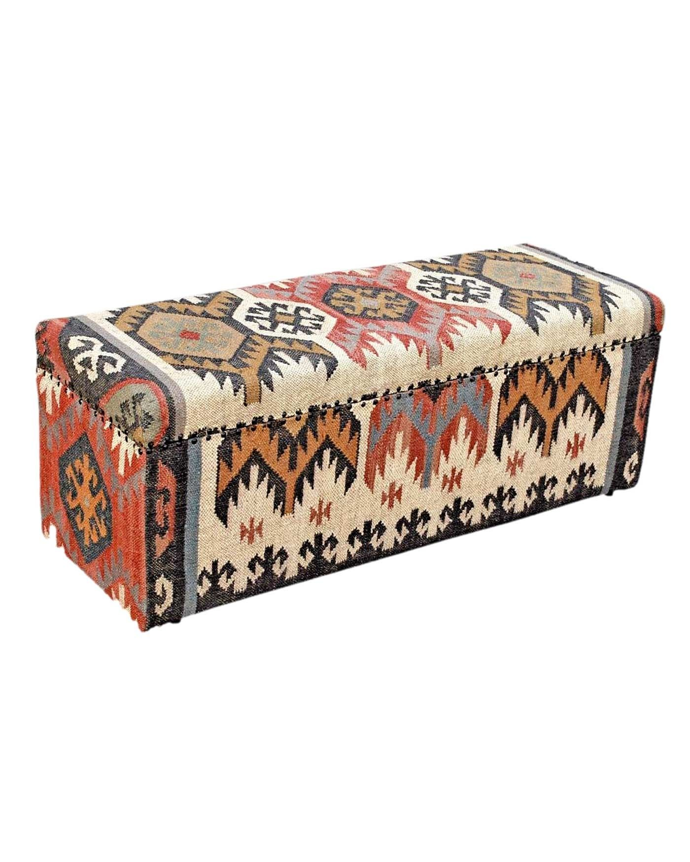 Excellent Upholstered Kilim Solid Wood Ottoman Blanket Box Andrewgaddart Wooden Chair Designs For Living Room Andrewgaddartcom