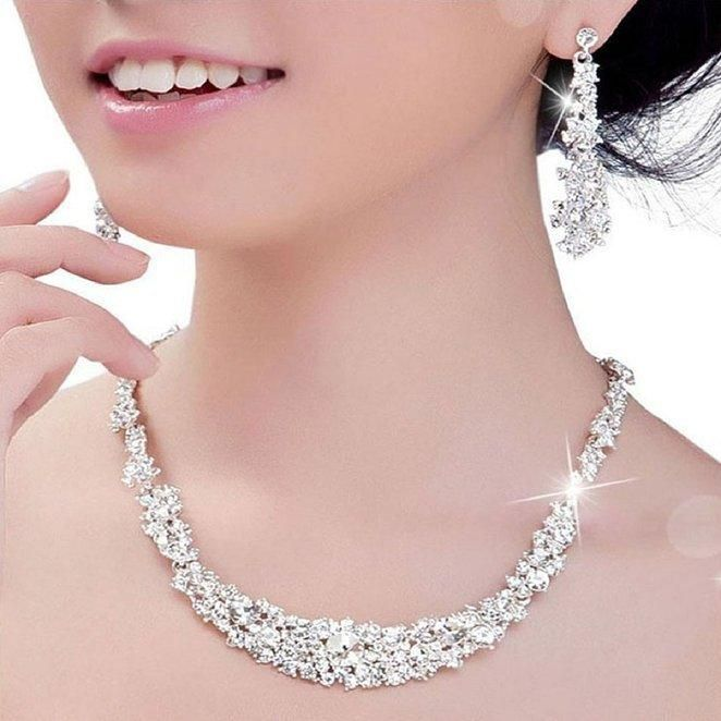 2016 Crystal Bridal Jewelry Set Silver Plated Necklace Diamond Earrings Wedding Jew Crystal Bridal Jewelry Sets Diamond Earrings Wedding Crystal Bridal Jewelry