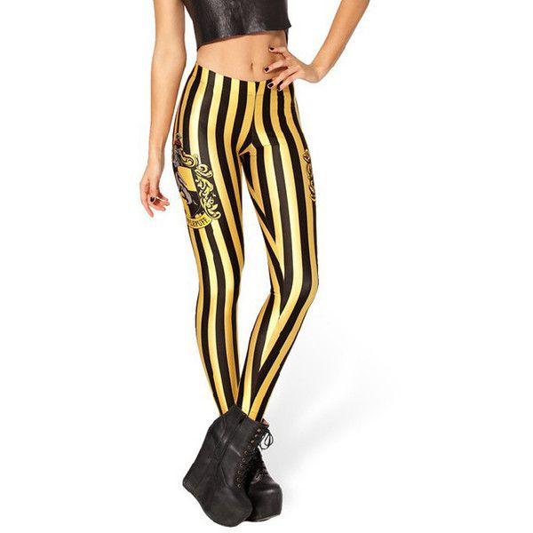 Woman/'s Hufflepuff Stretch Stripe Black Yellow Harry Potter Quality Leggings