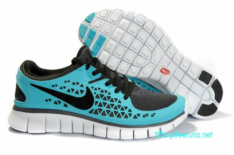 Womens Nike Free Runs Light Blue Black Shoes - Click Image to Close