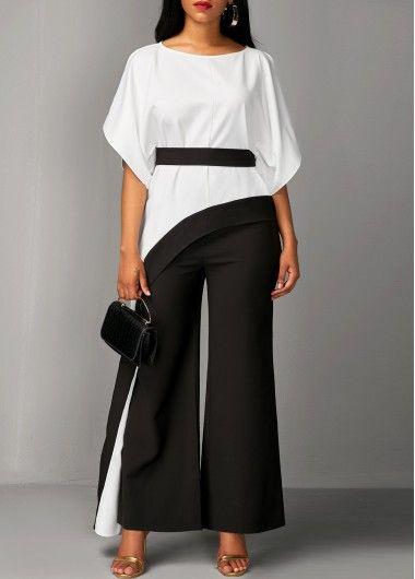 94e4eb07a06 Asymmetric Hem Half Sleeve Top and Black Pants