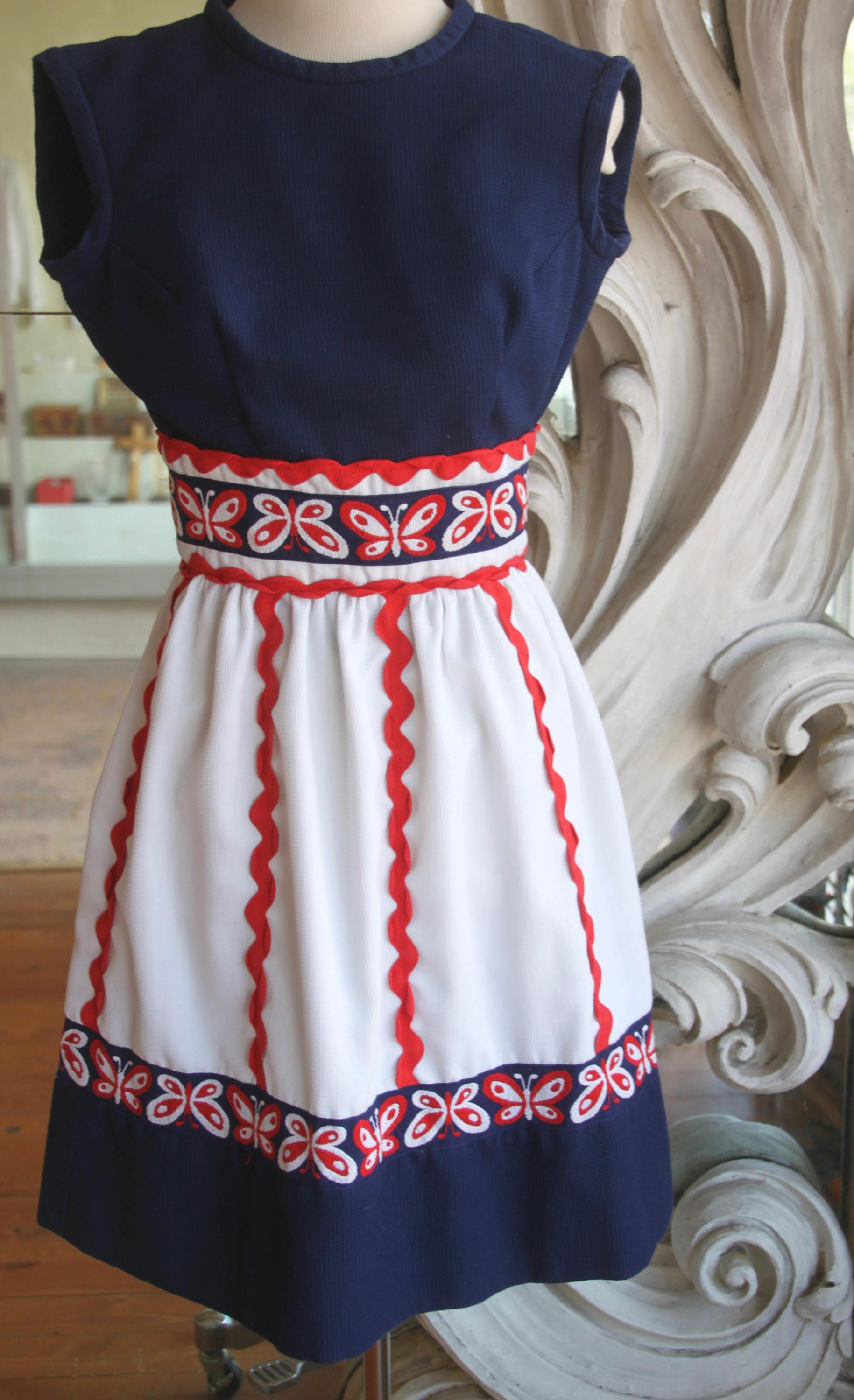 8d347d76805a Vintage 1960s Red, White, & Blue Summer Mini Dress by Howard Wolf 32 Bust  by SweetLittleVillage on Etsy