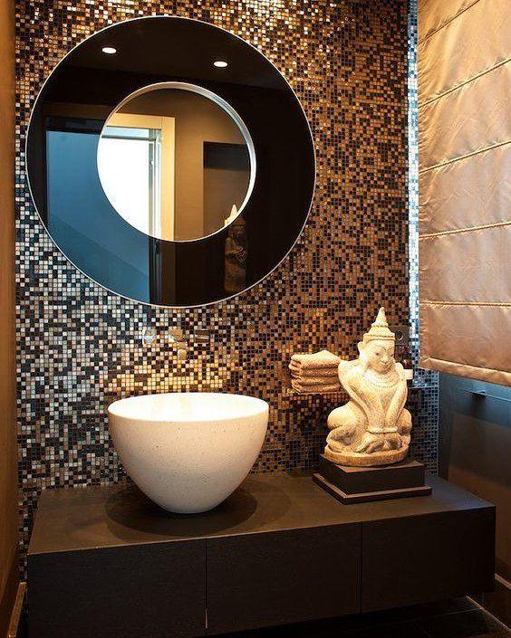 Contemporary Bathroom Mirror Bathroommirror Bathroomdecor Black And Gold Bathroom Gold Bathroom Bathroom Interior Design