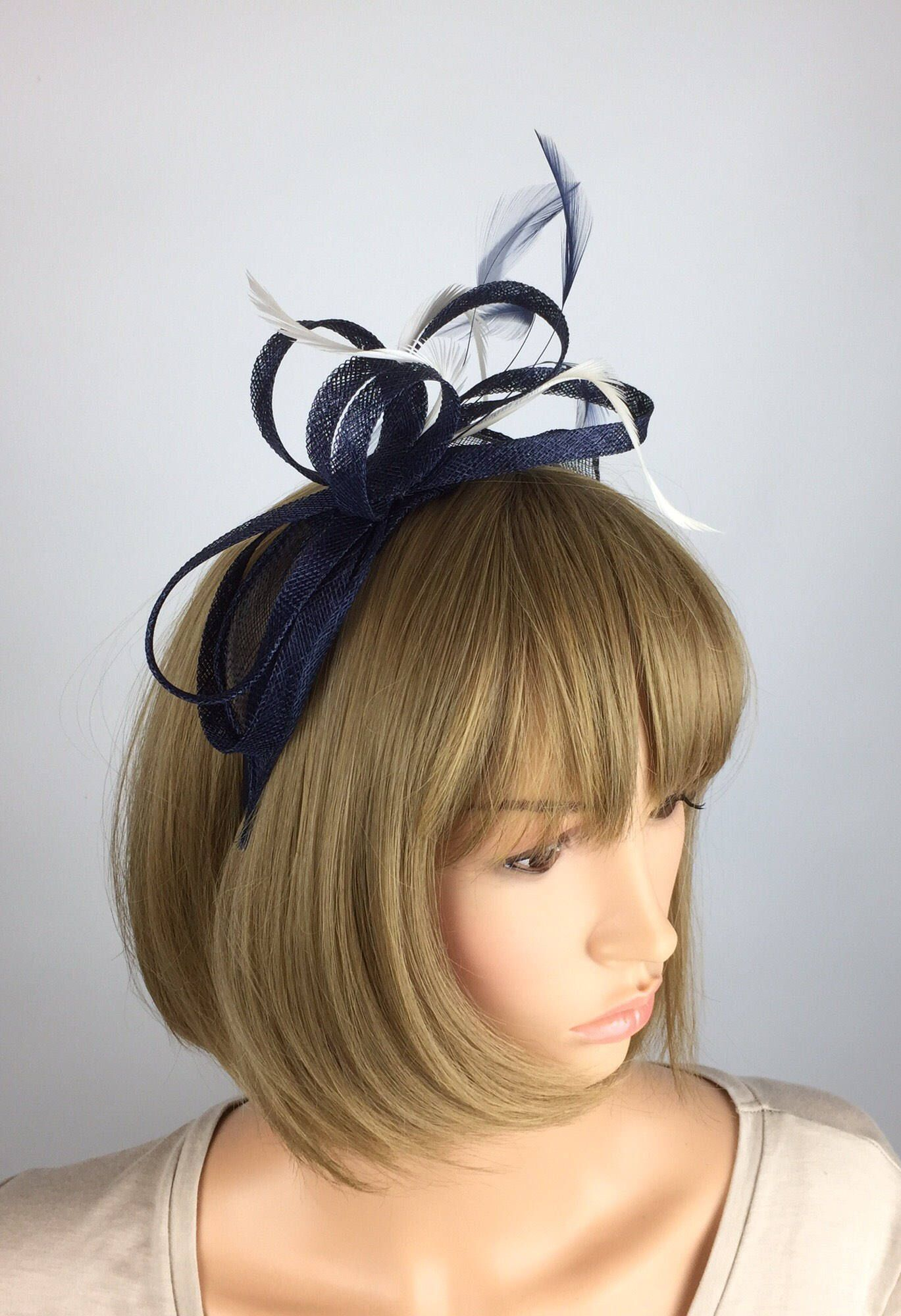 2f5b1fcf Excited to share the latest addition to my #etsy shop: Dark Navy Blue and white  Fascinator wedding mother of the bride Ladies Day Ascot races, occasion ...