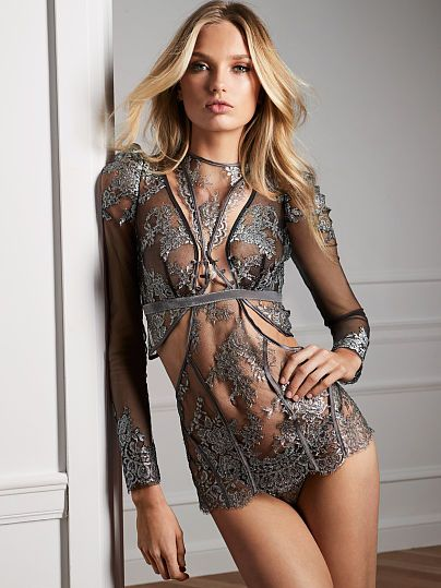 6fb1ca8b8b33e Victoria's Secret Designer Collection lace mini slip with pavé ...