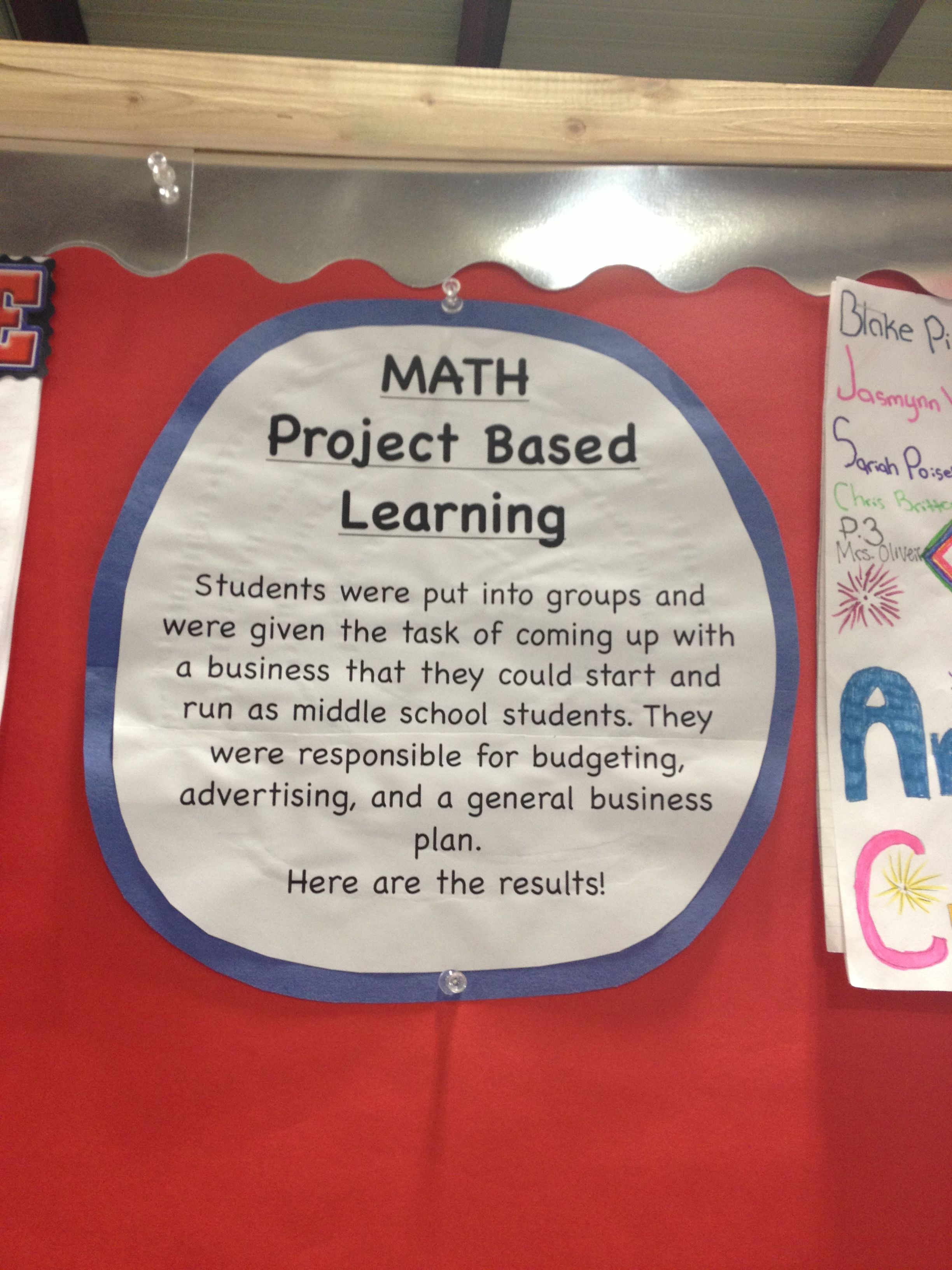 Project-based learning in math. A description of a project completed by a middle school math class.