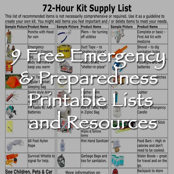 Disaster Survival Skills: 9 Free Emergency & Preparedness Printable Lists And
