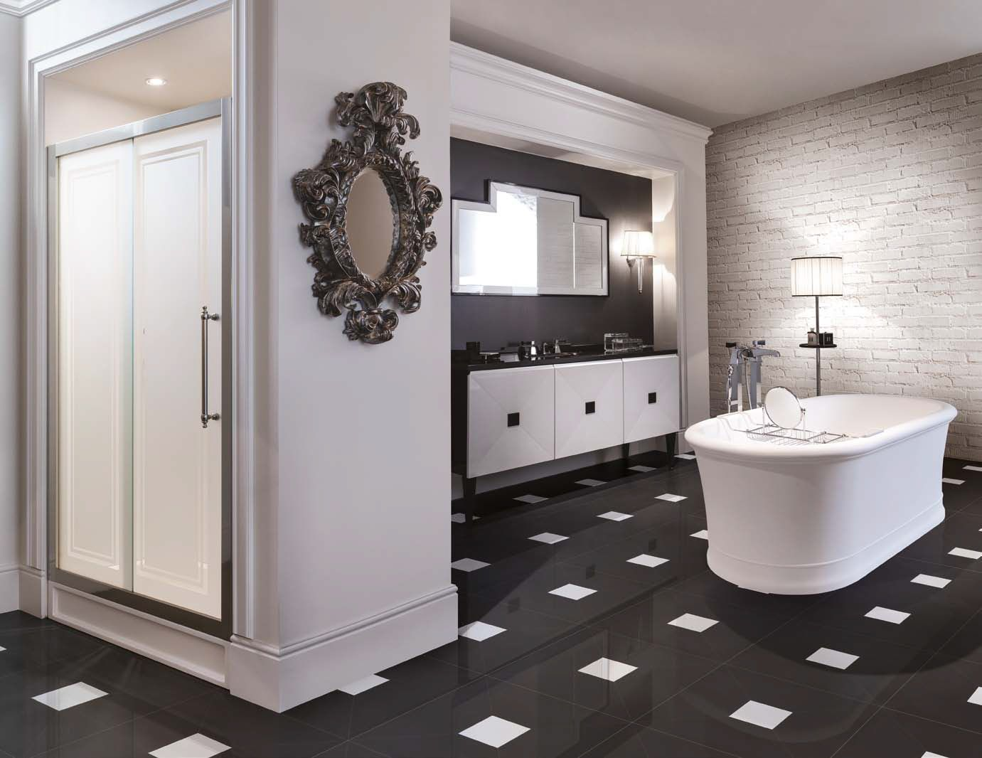 Inspired bathroom blog by diamond interiors vanity basin vanity bench - Majestic Shower Door Jetset Vanity Unit Celine Bathtub Atelier Diamond Flooring