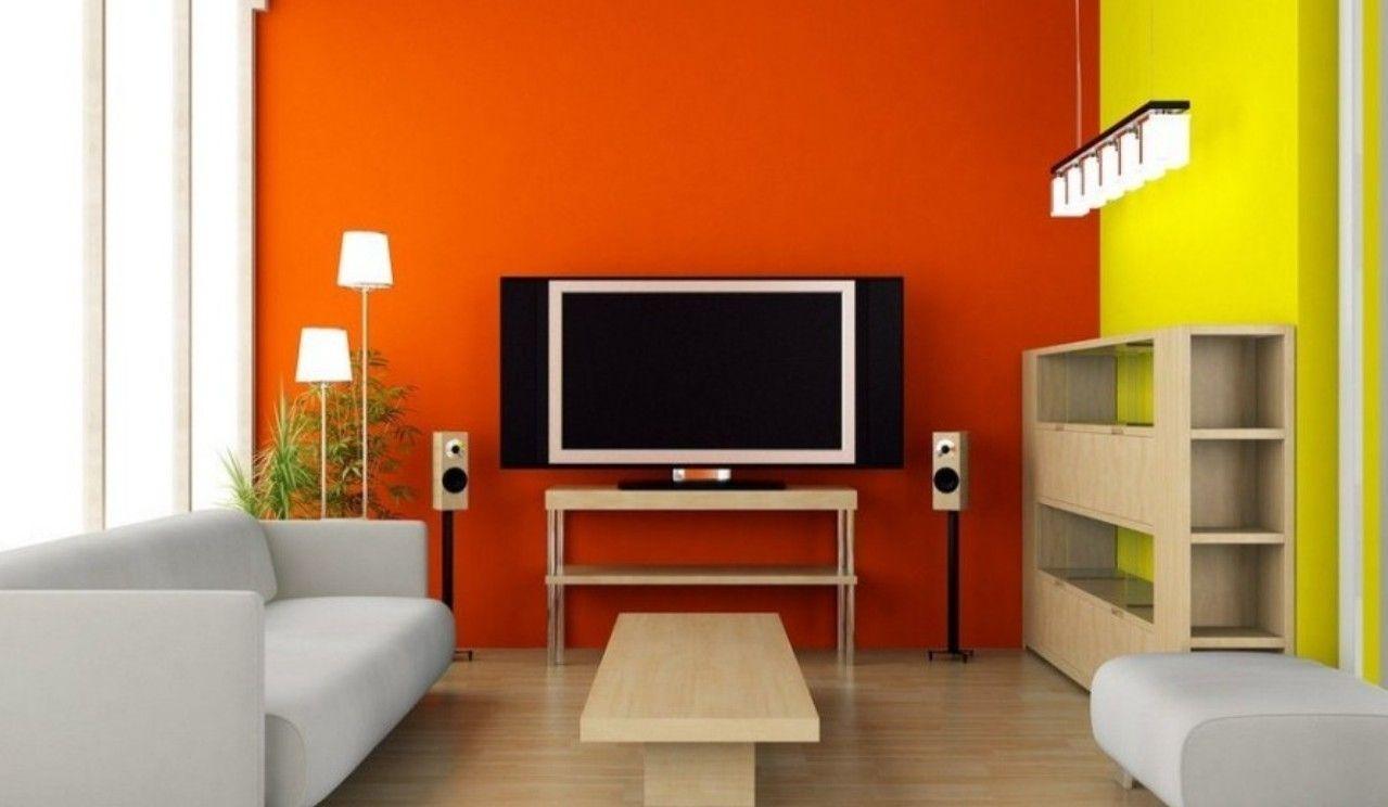 Orange Tv Wall In Modern Minimalist Living Room Interior Design