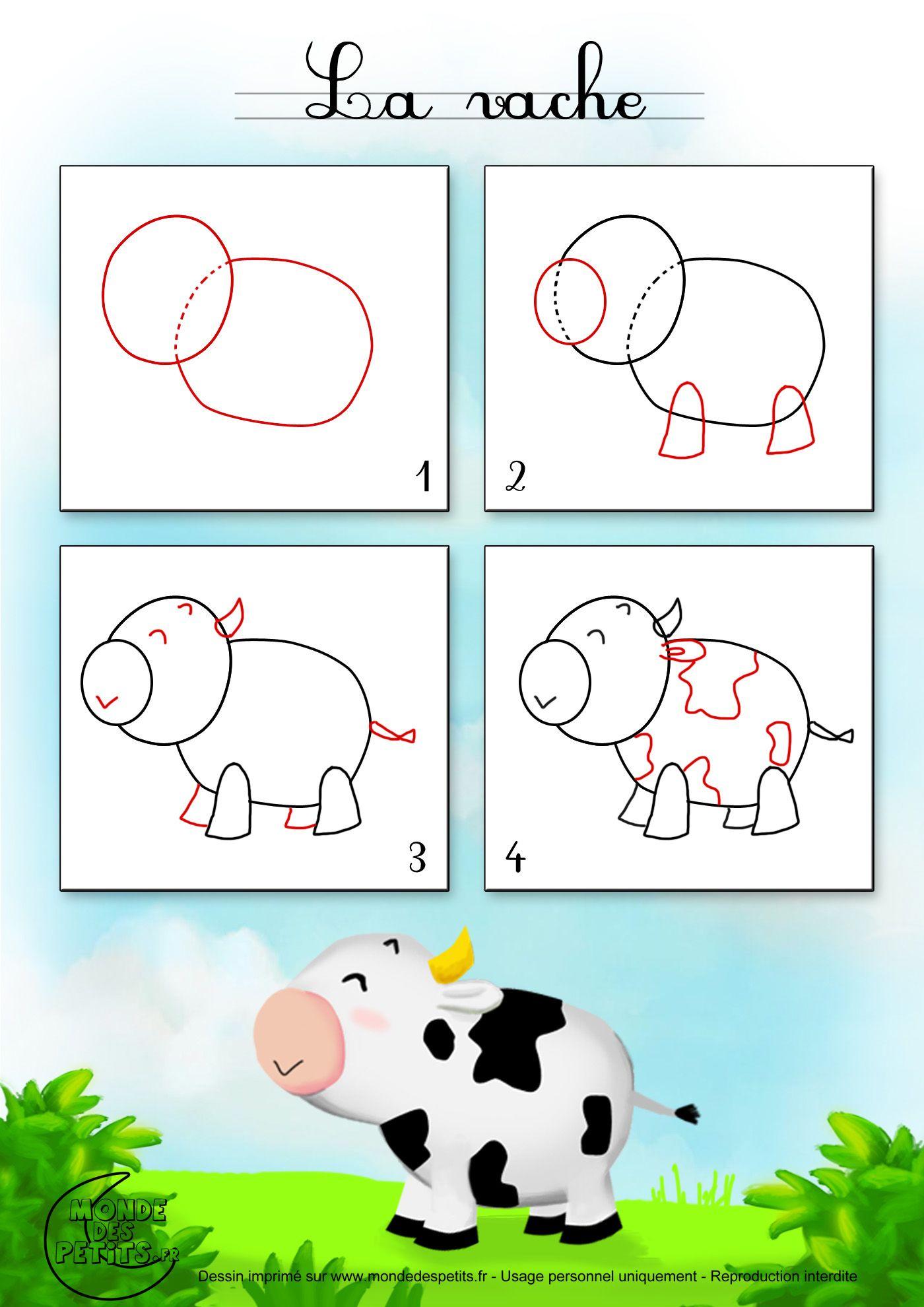 Dessin2 comment dessiner une vache basteln pinterest - Vache dessin facile ...