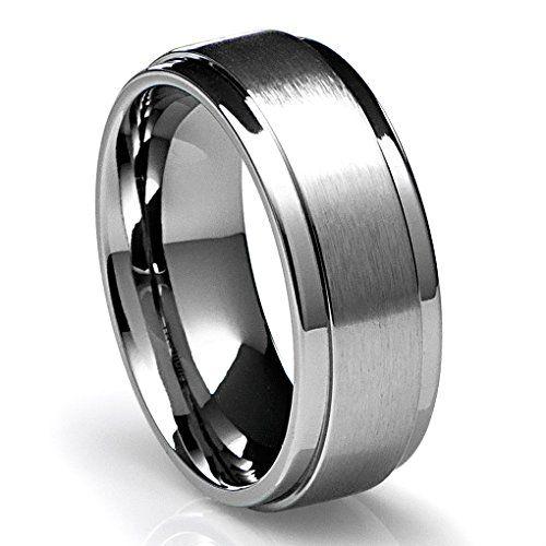8mm mens titanium ring wedding band with flat brushed top and polished finish edges