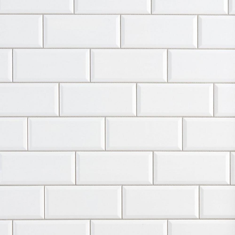 Bright White Ice Beveled Ceramic Wall Tile Floor Decor Tijolo Branco Revestimento Cozinha Revestimento Metro White