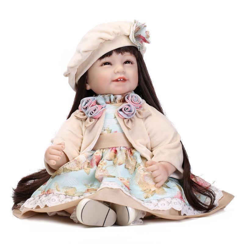 22/'/'Handmade Lifelike Baby Silicone Vinyl Reborn Newborn Girl Doll+Clothes+Shoes