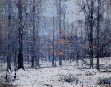 Winter Woods Oil Painting