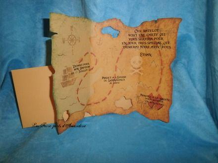 Faire-part Garçon Carte au trésor pirate  : Faire-part par faire-parts-d-amandine