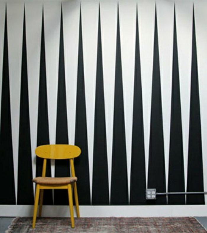 Muster Schwarz-Weiß wandgestaltung mit Farbe einrichtungsbeispiele - bilder wohnzimmer einrichtung weis