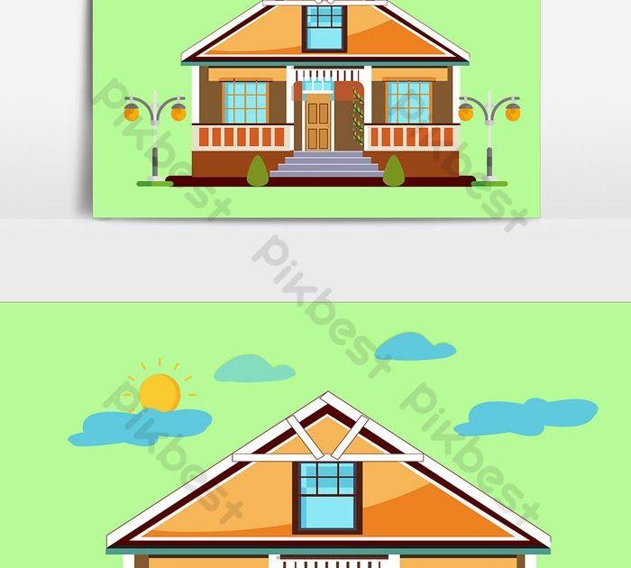 Download Gambar Rumah Kartun Desain Elemen Rumah Kartun Datar Elemen Grafis Templat Ai Unduhan Download Rumah Kartun Png Clipart Gambar Kartun Indoor Outdoor