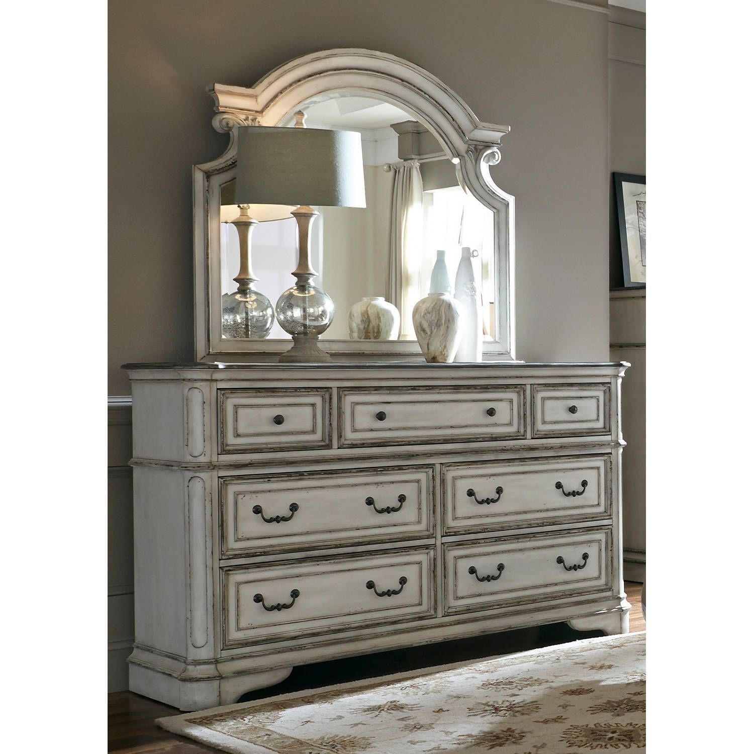 Liberty Magnolia Manor Antique White 7Drawer Dresser and