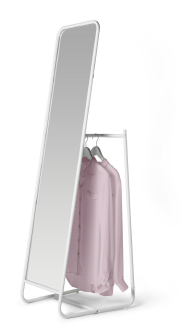 A Standing Mirror With Hooks And A Rail For Clothes