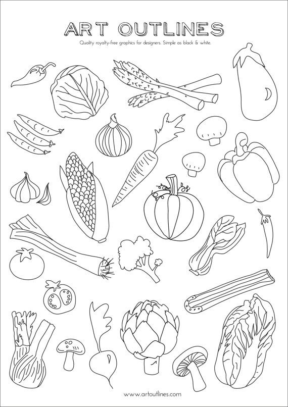 Set Of Vegetables Art Outlines Full Page 29 Original Hand Etsy Outline Illustration How To Draw Hands Drawings