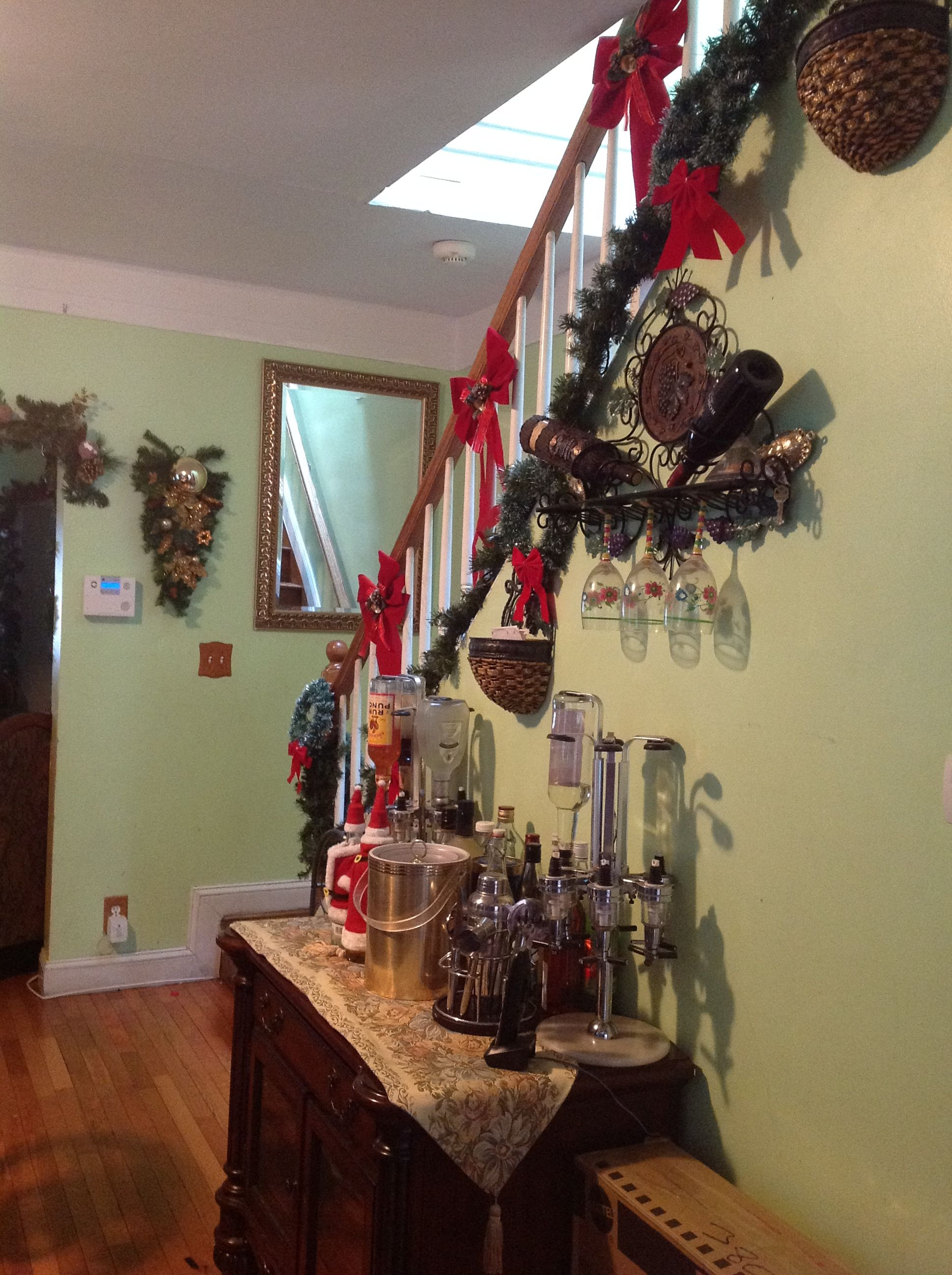 Christmas Decorations * The Stair Case And Bar