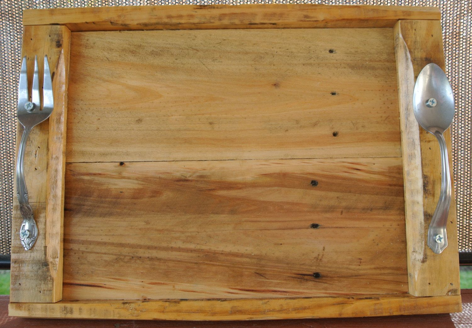 Reclaimed Pallet Wood Serving Tray With Fork And Spoon