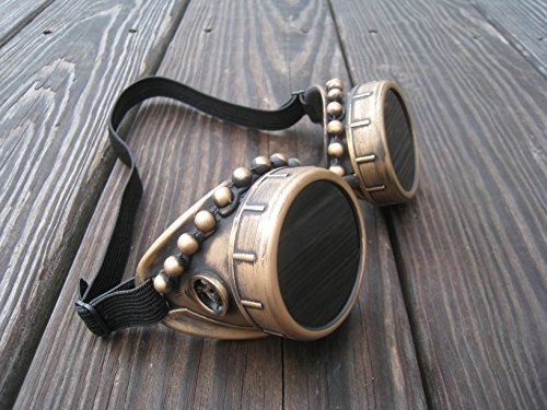 Steampunk Goggles Victorian Gothic Antique Gold with Key…