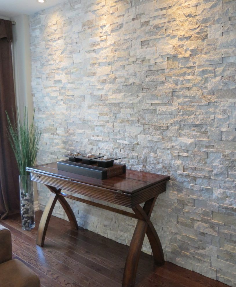 Interior stone walls living room contemporary with stone for Interior wall design ideas