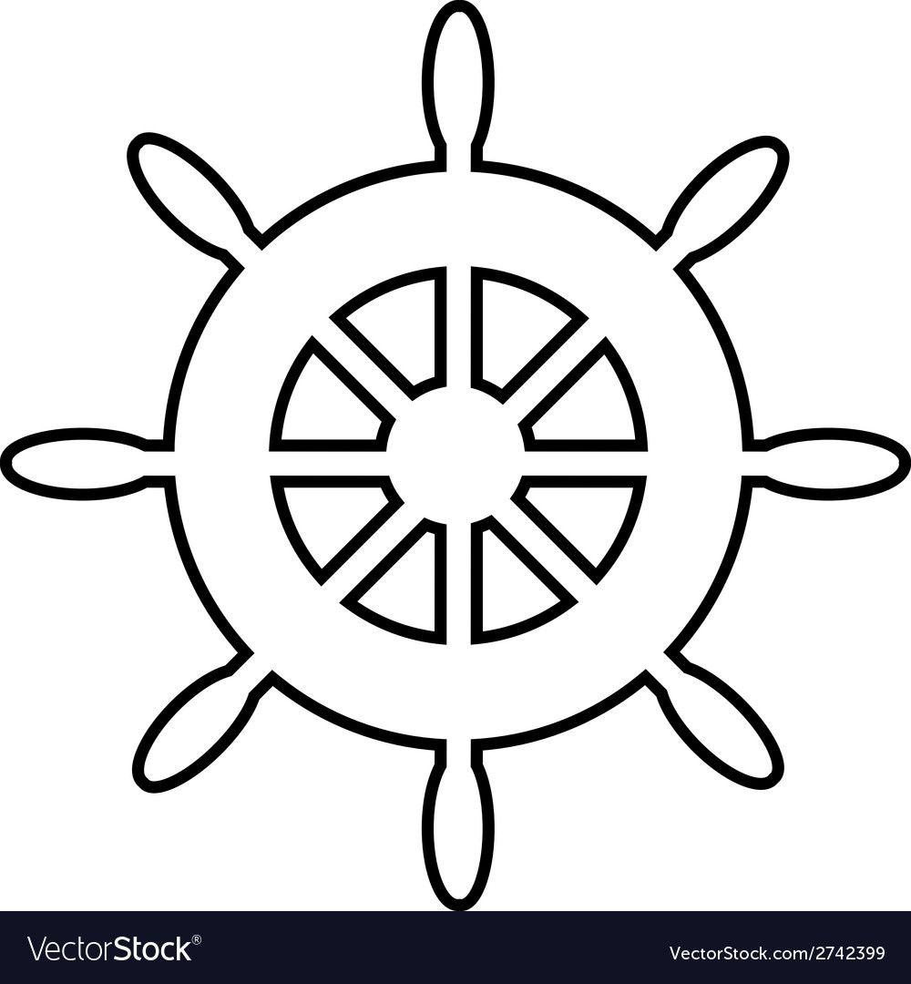 Steering Wheel Icon Vector Image On Boat Steering Wheels