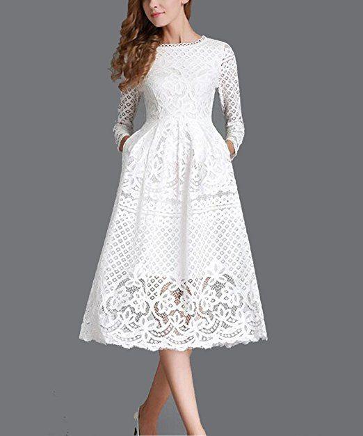 Minetom Damen Kleid Lange Ärmel Sommerkleid Spitze Elegant Abendkleid  Partykleid Maxi Kleid: Amazon.de: Bekleidung