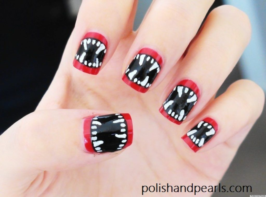 15 Halloween Nail Art Designs You Can Do At Home! | Vampire fangs