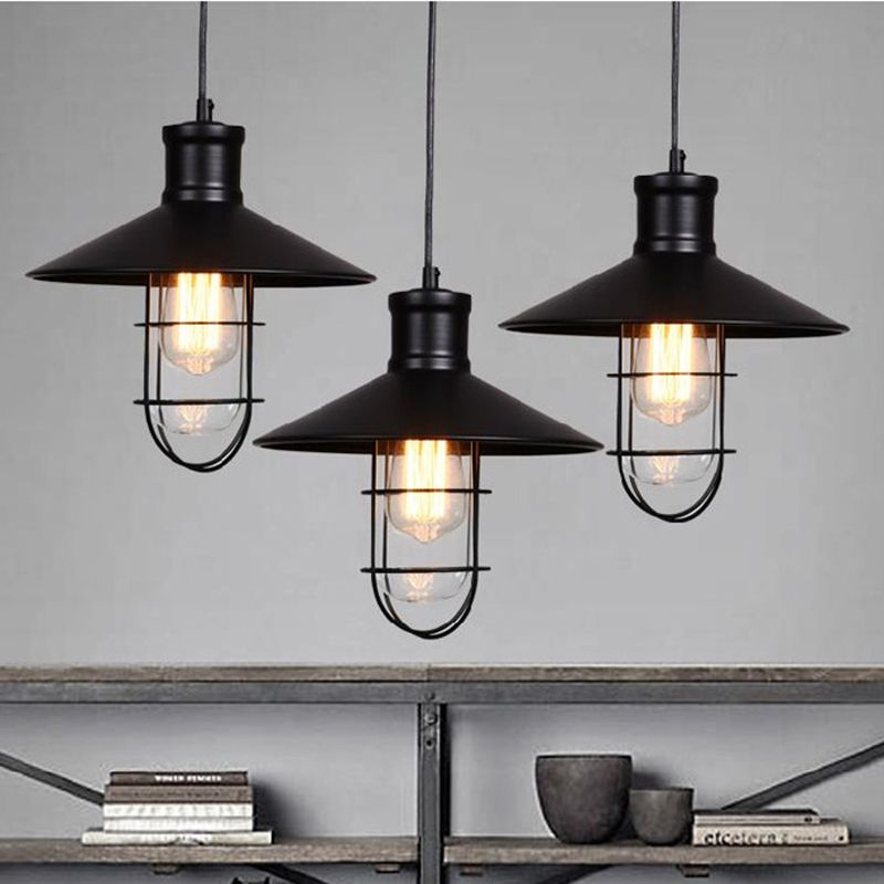 Black Rustic Pendant Lights Vintage Industrial Lamp Led Light Birdcage Lamps Warehouse Lighting
